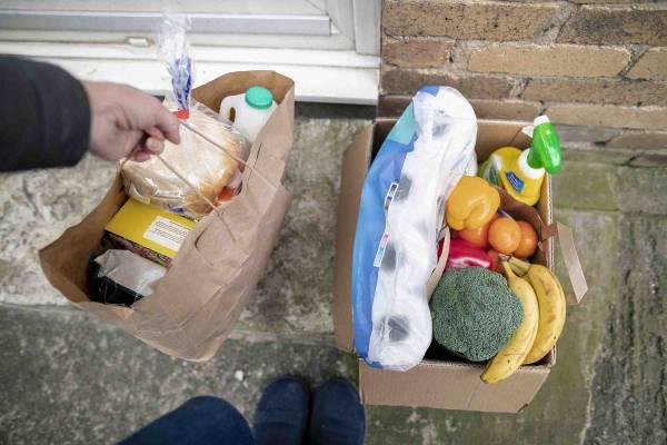 Groceries being delivered