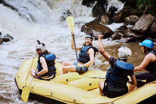 Visitors on a rafting adventure
