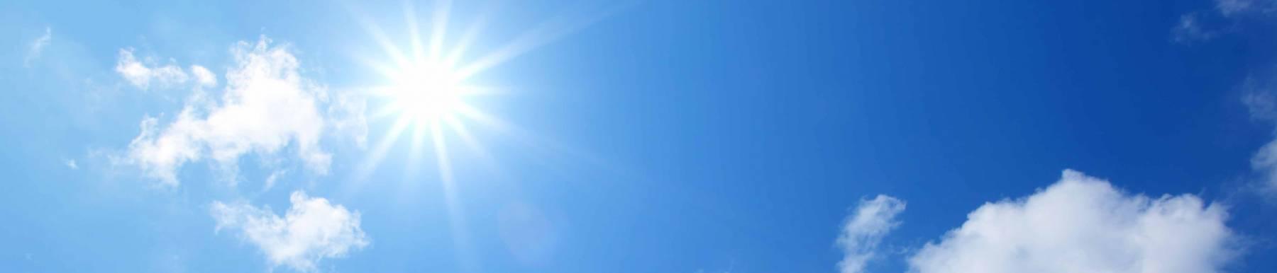 Bluebird skies with a bright sun